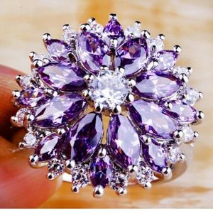 Jewelry - Amethyst and white Topaz flower ring